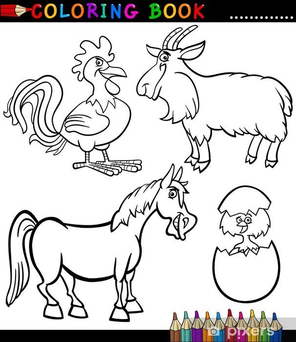 Vinilo Dibujos Animados Animales De Granja Para Colorear Libro Pixerstick