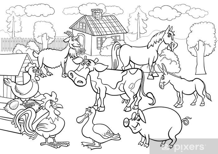 Boyama Kitabi Icin Ciftlik Hayvanlari Karikatur Cikartmasi