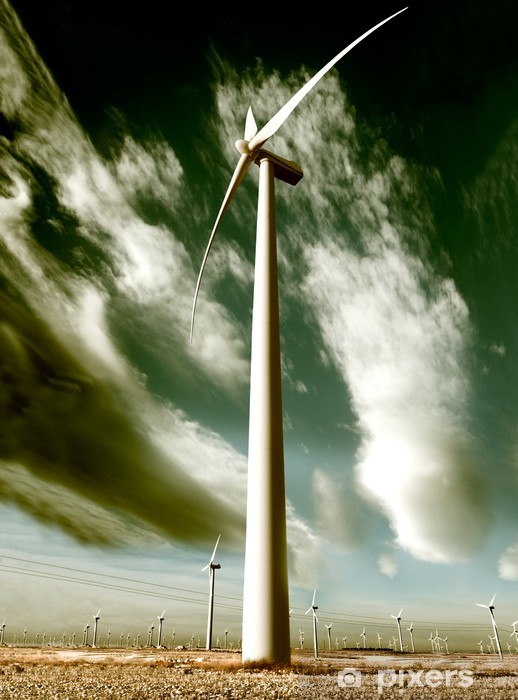 Fototapeta winylowa Wind park, Ekstremalne turbiny powietrza i chmur przemieszczających - Ekologia