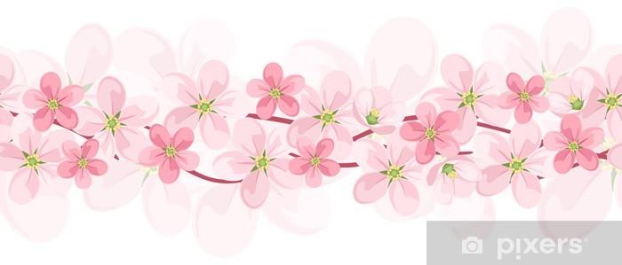 Vinilo Pixerstick De Fondo Sin Fisuras Horizontales Con Flores De
