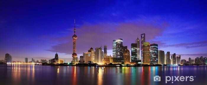 Vinilo Pixerstick Lujiazui Finanzas y Zona Franca de Shanghai hito horizonte al amanecer - Ciudades asiáticas
