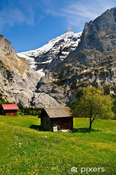 Naklejka Pixerstick Drewniany dom z górskich krajobrazów, Grindelwald - Europa