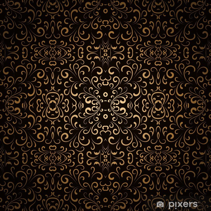 Abstract Floral Background Dark Gold Seamless Pattern Poster