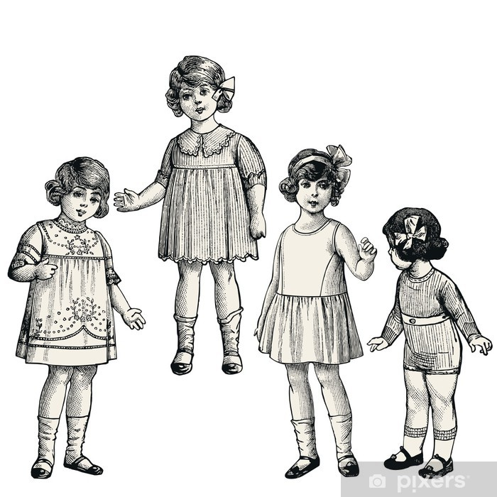 Sticker Pixerstick Quatre petites filles - Enfants