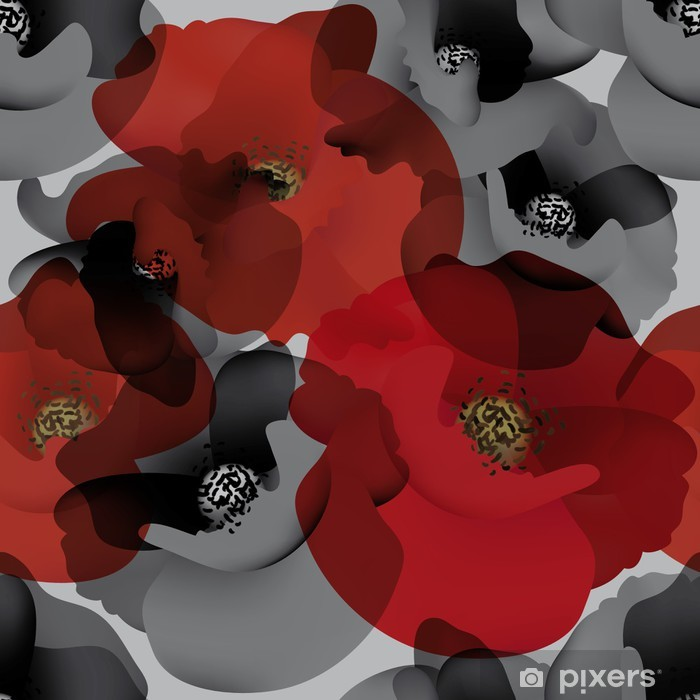Field Poppy Seamless White And Black Wallpaper With Red Accent Vinyl Wall Mural
