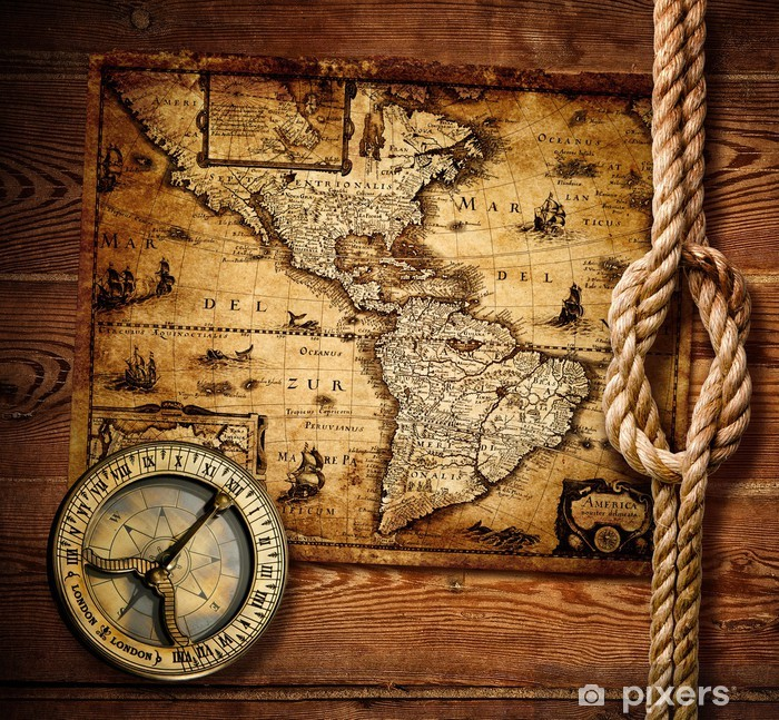 Vinilo Pixerstick Antiguo Brújula Y Mapas Antiguos Pixers