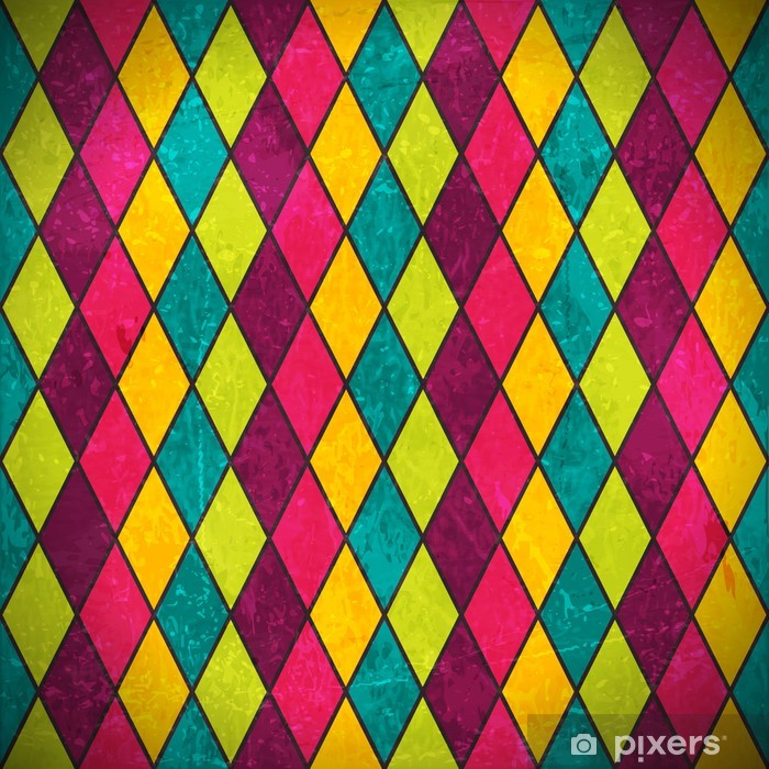 Colorful rhombus grunge background Vinyl Wall Mural - Backgrounds