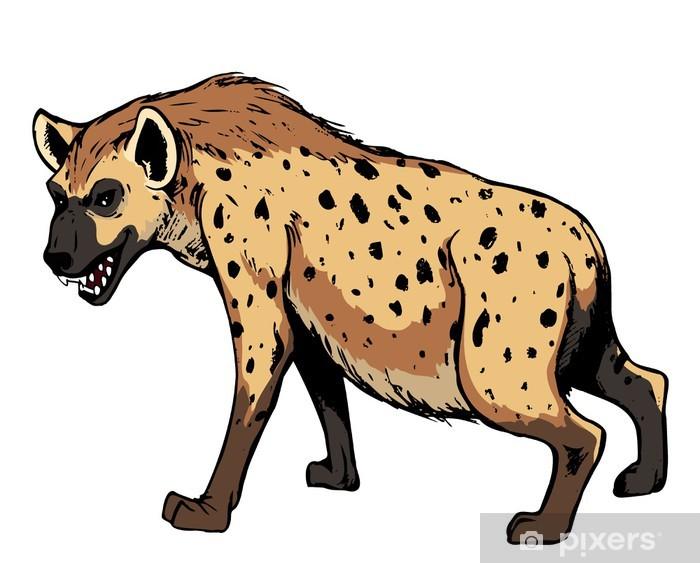 Sticker Pixerstick Hyène. Afrique animal, isolé sur fond blanc. - Mammifères
