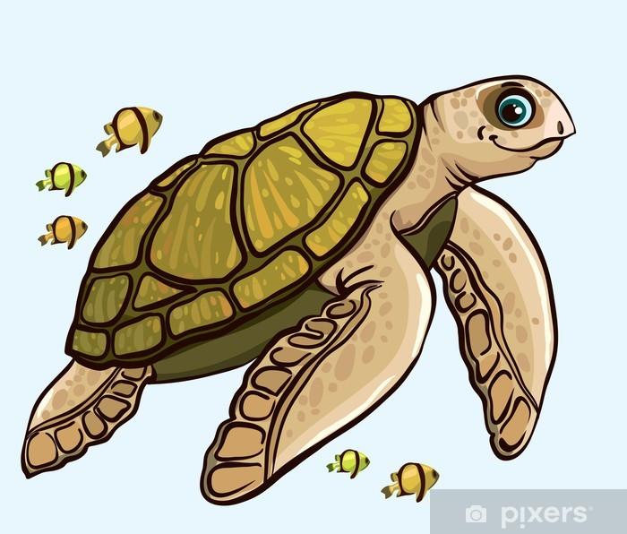 Cartoon Funny Sea Turtle Wall Mural