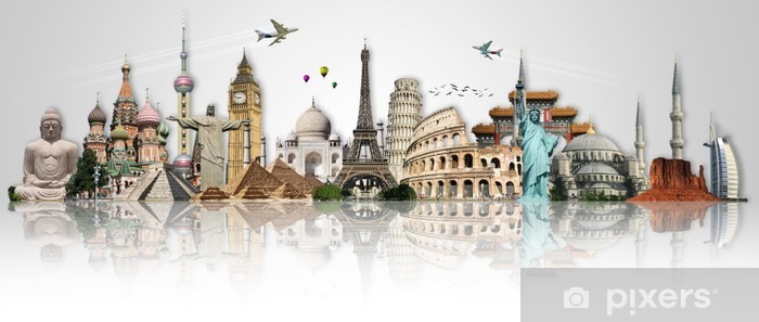 Travel the world monuments concept Pixerstick Sticker - Themes