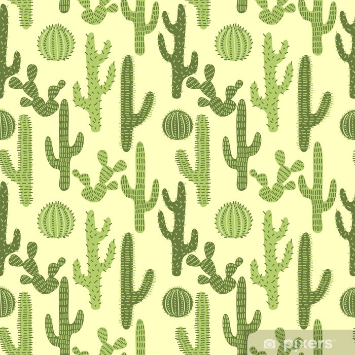 Seamless pattern with cactuses #1 Vinyl Wall Mural - Backgrounds