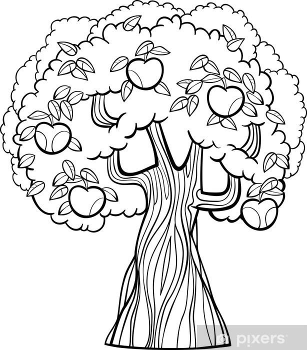Arbre Pour Coloriage.Papier Peint Pomme De Bande Dessinee D Arbre Pour Livre De Coloriage