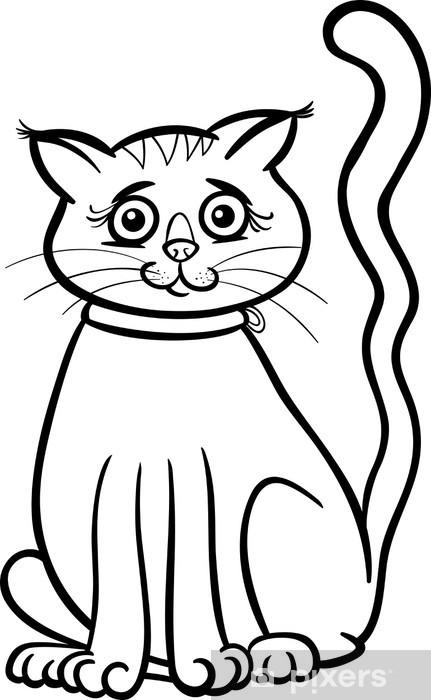 Boyama Kitabı Için Dişi Kedi Karikatür Duvar Resmi Pixers Haydi