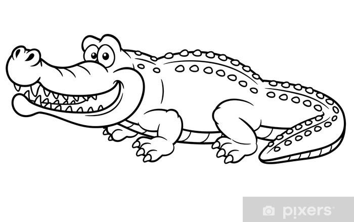 Vinilo Ilustración De Cocodrilo De Dibujos Animados Libro Para Colorear Pixerstick