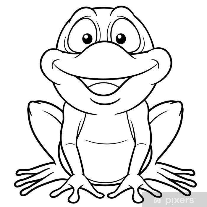 Adesivo Illustrazione Del Cartone Animato Rana Libro Da Colorare