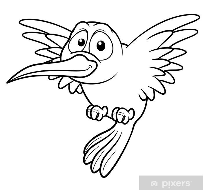 illustration of Cartoon Hummingbird - Coloring book Sticker - Pixerstick