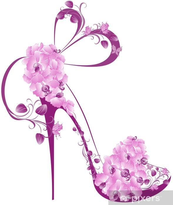 Naklejka Pixerstick Buty na wysokim obcasie ozdobione orchidee - Moda