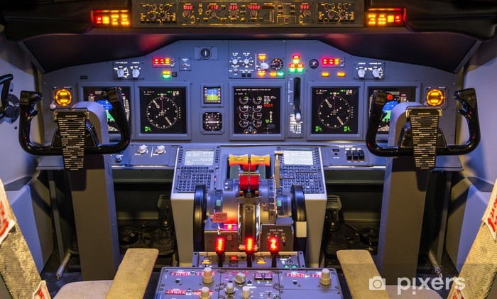 Cockpit Of An Homemade Flight Simulator Boeing 737 800