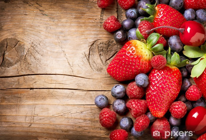 Berries on Wooden Background. Organic Berry over Wood Washable Wall Mural - Raspberries
