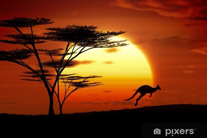 Papier peint vinyle Kangourou coucher du soleil Australie - Thèmes