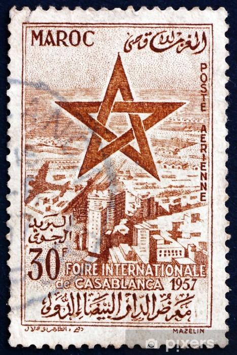 Postage stamp Morocco 1957 Sultan's Star over Casablanca Pixerstick Sticker - Urban