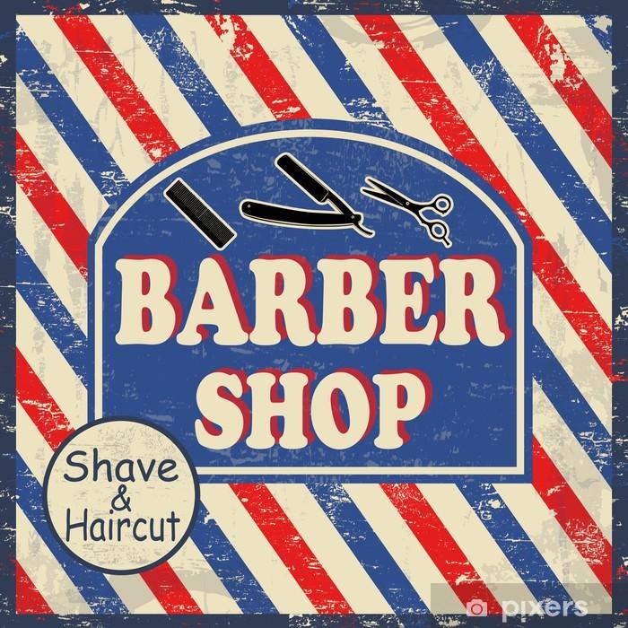 Fototapeta zmywalna Fryzjer sklep vintage plakat -