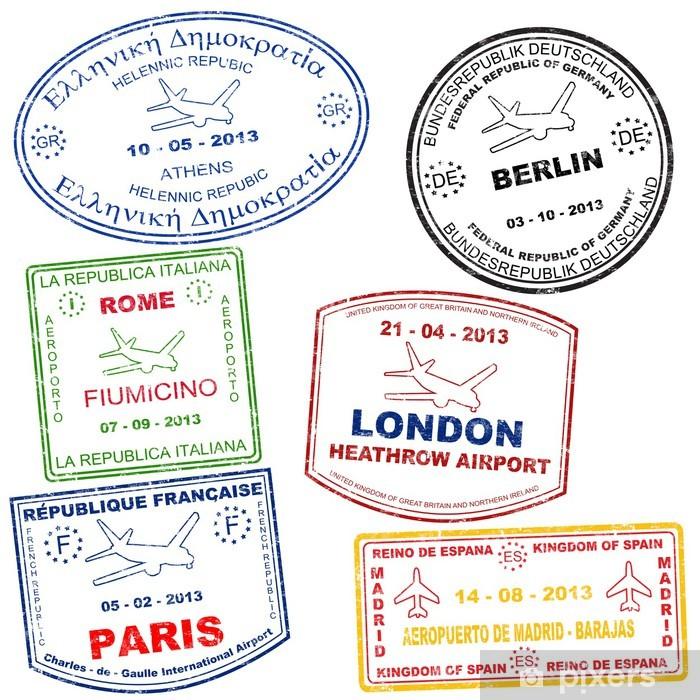 Naklejka Pixerstick Zestaw znaczków paszportowych - Znaki i symbole