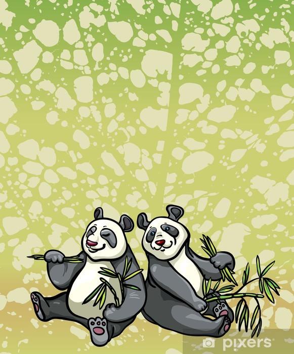 Fototapete Zwei Comic Panda Und Bambus Blatter Pixers Wir Leben