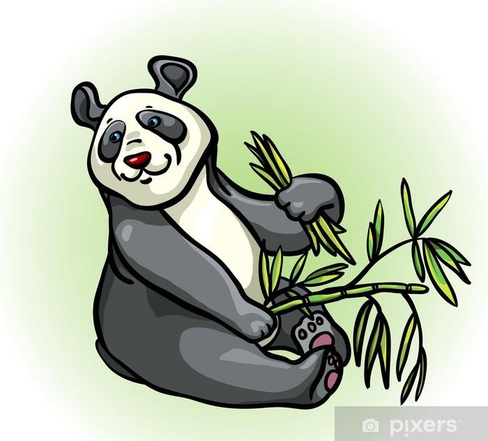Sticker Panda De Dessin Animé Et De Feuilles De Bambou Pixerstick