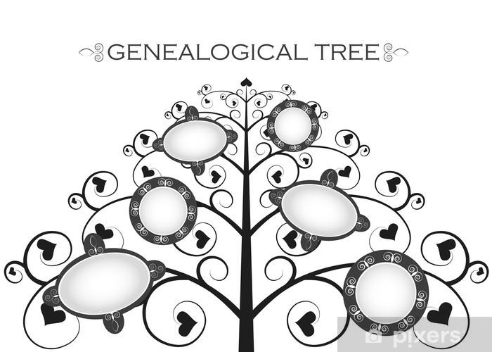 Fototapeta zmywalna Drzewo genealogiczne na białym tle, sylwetka - Znaki i symbole