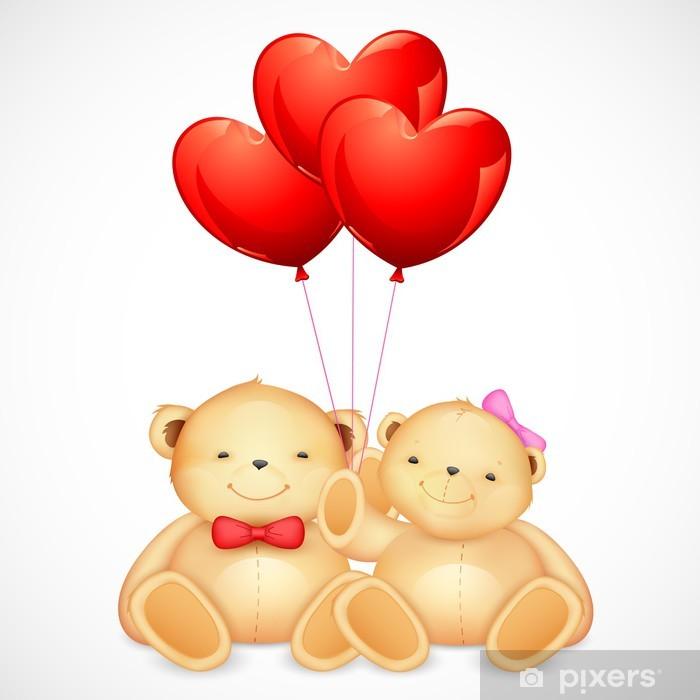Naklejka Pixerstick Słodkie Para Miś trzyma balon serce - Pary