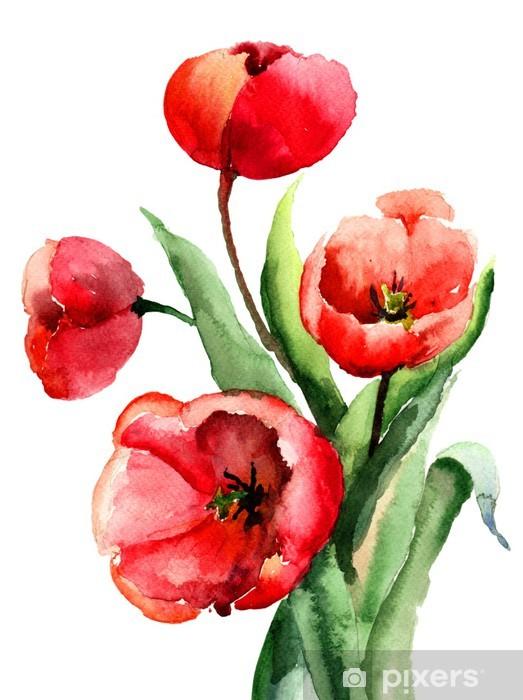 Papier peint vinyle Fleurs rouges - Fleurs