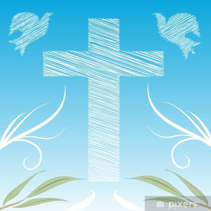 Poster Sfondo decorazione Croce e colombe - Fêtes internationales