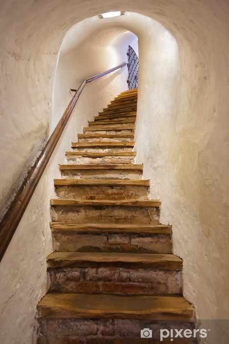 Afwasbaar Fotobehang Trappen in Kasteel Kufstein - Oostenrijk - Stijlen