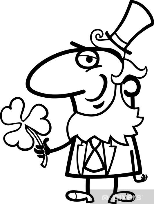 Vinilo Pixerstick Leprechaun con el trébol de dibujos animados para ...