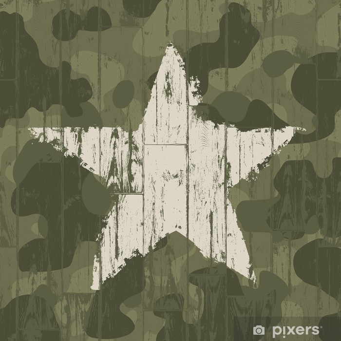 Military camouflage background with star. Vector, EPS10. Vinyl Wall Mural - Themes