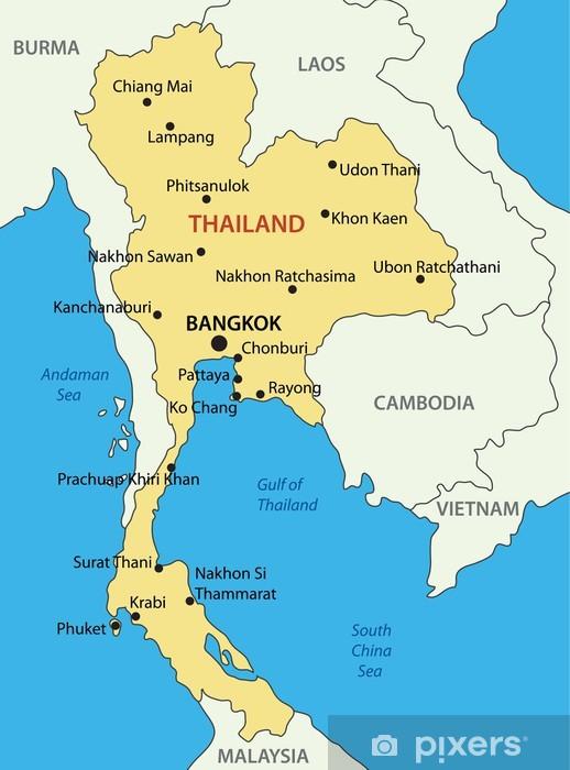 thailand kart Kingdom of Thailand   vector map Sticker • Pixers® • We live to change