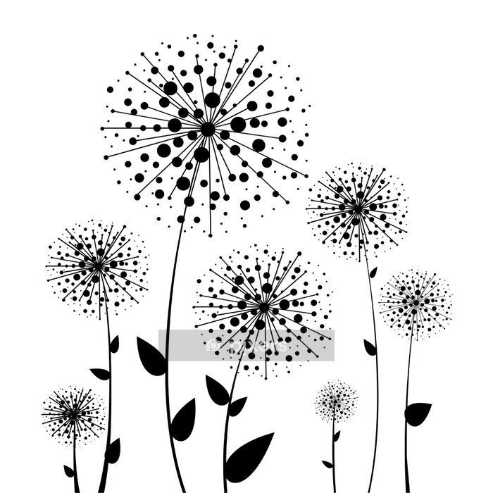 abstract flower vector dandelion wall decal • pixers® • we live to