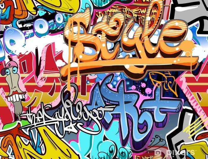 Vinyl Fotobehang Graffiti muur. Stedelijke kunst vector achtergrond. Naadloze textuur - Thema's