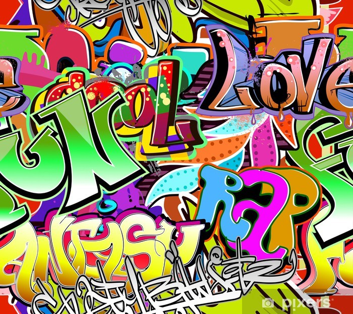 Graffiti wall. Urban art vector background. Seamless pattern Vinyl Wall Mural - Themes