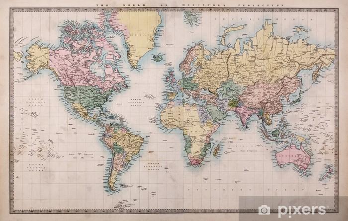 Pixerstick Sticker Oude Antieke Kaart van de Wereld op Mercators Projectie -
