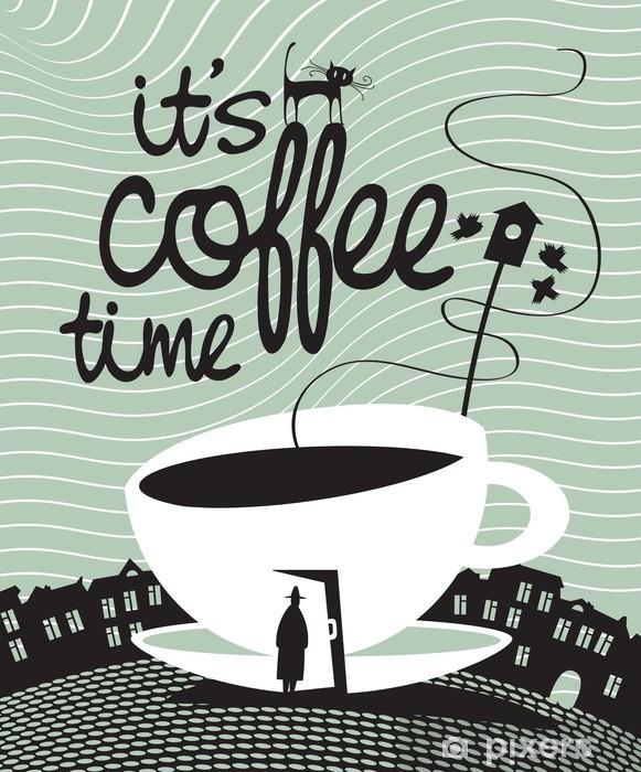 Afwasbaar Fotobehang Banner met een kopje koffie in een deur en een voorbijganger - Café