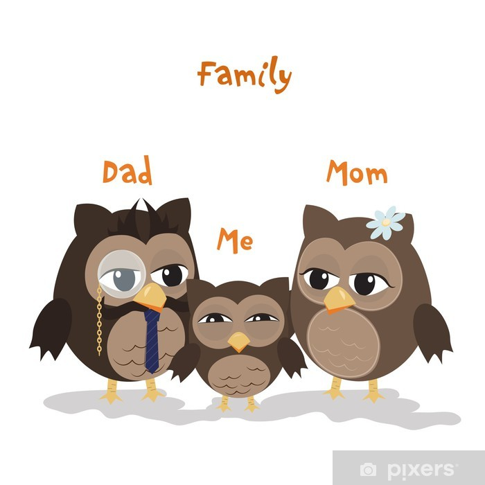 Mon,Dad and Me Pixerstick Sticker - Birds