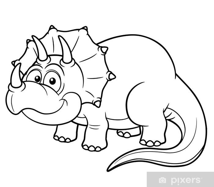 Karikatür Dinozor Illüstrasyon Kitap Boyama çıkartması Pixerstick