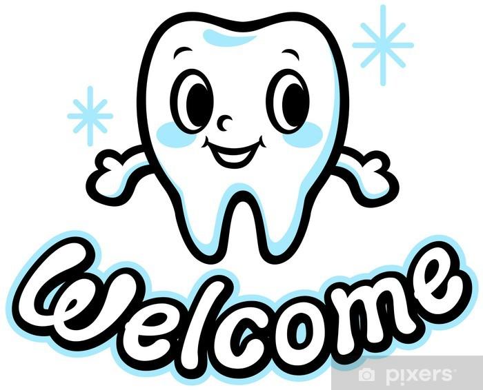 Pixerstick Aufkleber Zähne des Charakters (Willkommen) - Gesundheit & Medizin