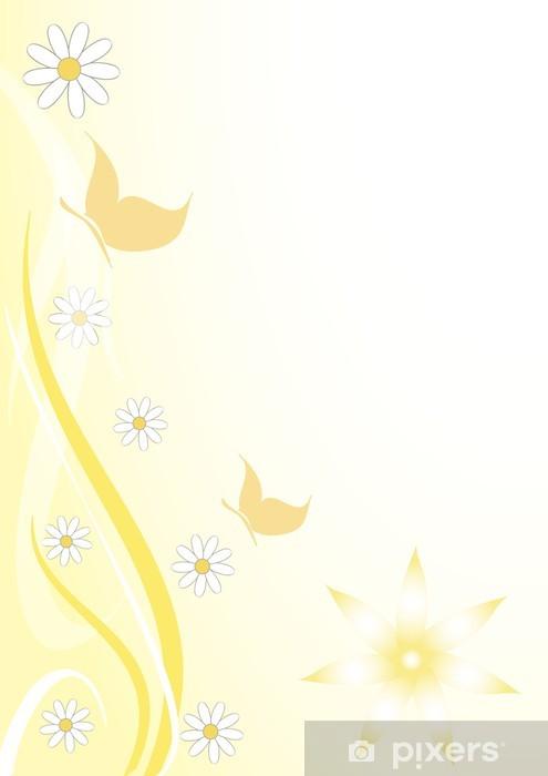 Fototapeta winylowa Sfodo floreale giallo farfalline - Pory roku