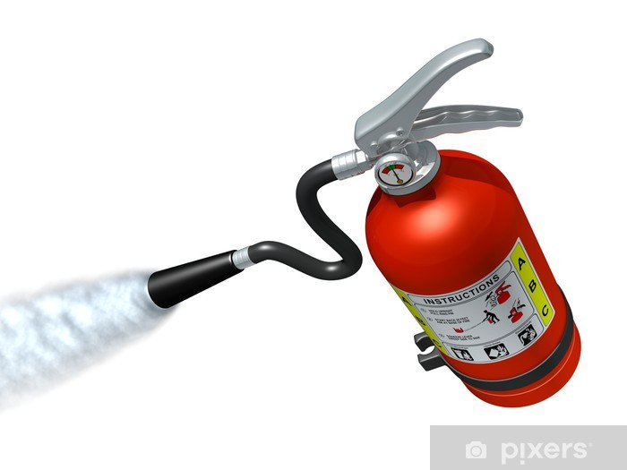 Fire Extinguisher In Action Vinyl Wall Mural - Life