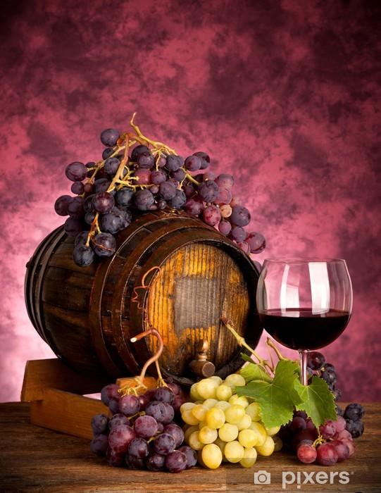 Red wine bottle and wine glass on wodden barrel Pixerstick Sticker - Themes