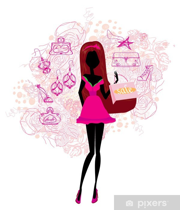 df1cad8a0b3b Fototapeta Abstraktní móda dívka Nakupování - ilustrační • Pixers ...