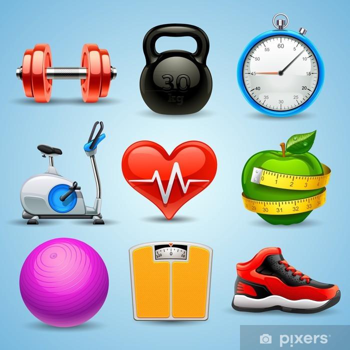 Naklejka Pixerstick Fitness zestaw ikon - Znaki i symbole